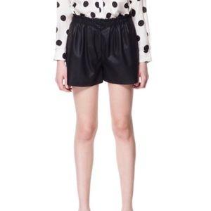 Zara Faux Leather Black Shorts M